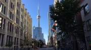 The CN Tower is pictured from the entertainment district in downtown Toronto. (Joshua Freeman /CP24)