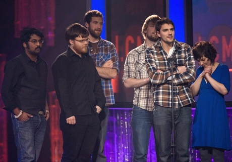 Tim Baker, centre right, and members of Hey Rosetta receive the award for Group recording of the year at the East Coast Music Awards Sunday, March 1, 2009 in Corner Brook N.L. (THE CANADIAN PRESS / Jacques Boissinot)