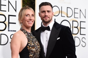 Sam Taylor-Johnson, left, and Aaron Taylor-Johnson arrive at the 74th annual Golden Globe Awards at the Beverly Hilton Hotel on Sunday, Jan. 8, 2017, in Beverly Hills, Calif. (Photo by Jordan Strauss/Invision/AP)