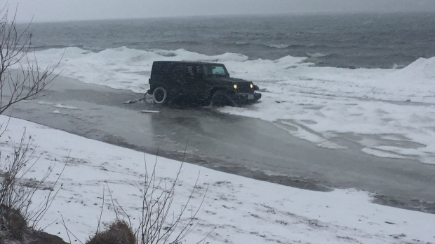 Jeep in ice