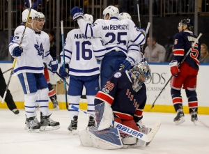 New York Rangers goalie Henrik Lundqvist (30) reacts after giving up a goal to the Toronto Maple Leafs during the first period of an NHL hockey game on Friday, Jan. 13, 2017, in New York. (AP Photo/Julie Jacobson)