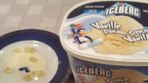 A tub of Iceberg brand French Vanilla ice cream that was found to contain Advil pills is pictured. (Submitted)