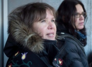 Mohawk activist Ellen Gabriel (left) and Leanne Simpson speak with the media after delivering a letter to a mailbox at the prime minister's office in Ottawa on Friday, January 18, 2013.  THE CANADIAN PRESS/Adrian Wyld