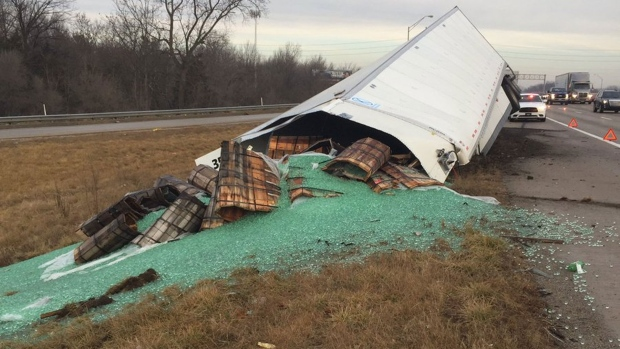 A truckload of spilled marbles is pictured in this photo tweeted out by Indiana State Police. (@ISPIndianapolis /Twitter)