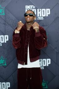 Soulja Boy poses for a photo at the 2015 BET Hip Hop Awards at the Atlanta Civic Center on Friday, Oct. 9, 2015, in Atlanta. (AP Photo/Branden Camp)