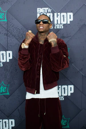 Soulja Boy poses for a photo at the 2015 BET Hip Hop Awards at the Atlanta Civic Center on Friday, Oct. 9, 2015, in Atlanta. (AP Photo/Branden Camp)