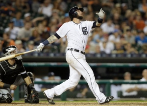In this Aug. 29, 2016, file photo, Detroit Tigers catcher Jarrod Saltalamacchia watches his two-run homerun during the eighth inning of a baseball game against the Chicago White Sox in Detroit. (AP Photo/Carlos Osorio)