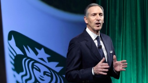 In this Dec. 7, 2016, file photo, Starbucks Chairman and CEO Howard Schultz speaks during the Starbucks 2016 Investor Day meeting in New York. (AP Photo/Richard Drew, File)
