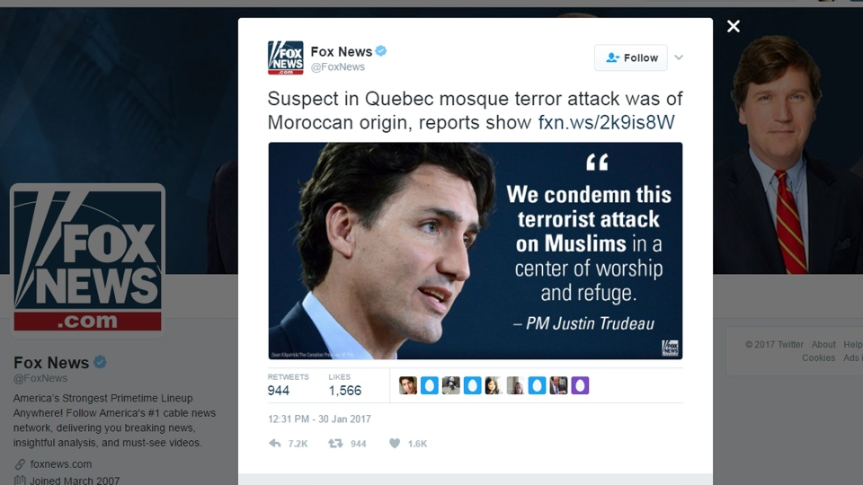 A Fox News tweet incorrectly describing the suspect in the Quebec City mosque attack as being Moroccan is pictured. (@FoxNews /Twitter)