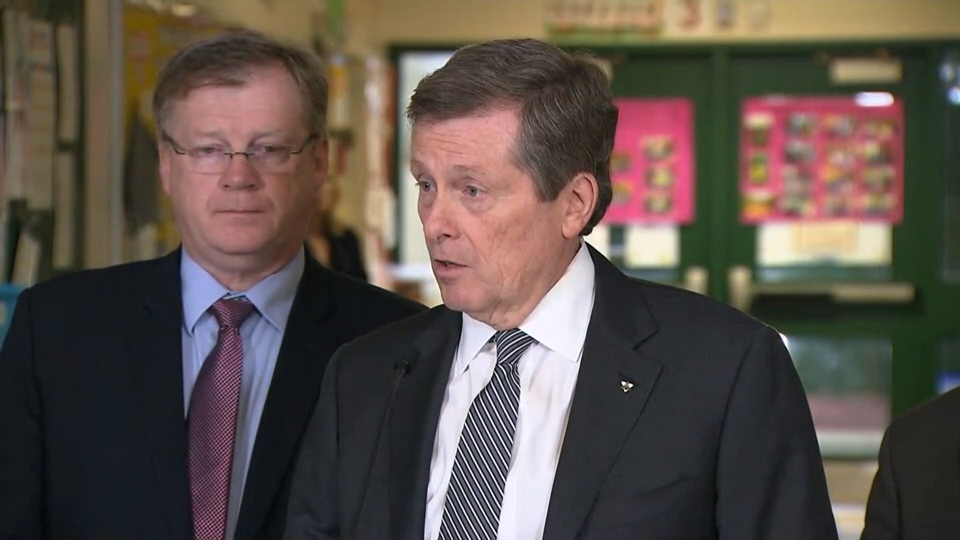 Mayor John Tory speaks at a news conference at a Scarborough daycare centre on Feb. 6, 2017.
