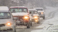 Motorists drive through snow in this file photo.