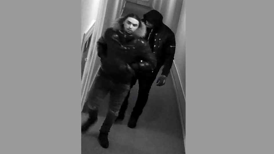 Suspects wanted in connection with a home invasion are pictured in this police handout photo.