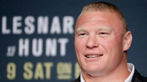 FILE - In this July 6, 2016, file photo, Brock Lesnar attends a UFC 200 mixed martial arts news conference in Las Vegas. Former UFC heavyweight champion Brock Lesnar has informed the mixed martial arts promotion that he is retired from competition. The UFC confirmed Lesnar's decision Wednesday, Feb. 15, 2017. (AP Photo/John Locher, File)