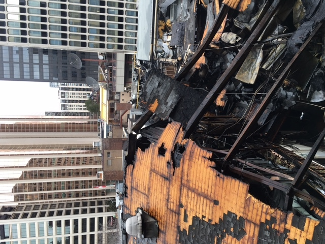 The charred remains of The Badminton & Racquet Club of Toronto are shown on Wednesday. (Toronto Fire Service)