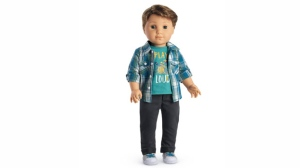"In this undated product image courtesy of American Girl shows the doll called ""Logan Everett."" For the first time in its more than 30-year history, American Girl will sell a boy version of its pricey dolls. The 18-inch ""Logan Everett"" doll will go on sale this week. (American Girl via AP)"