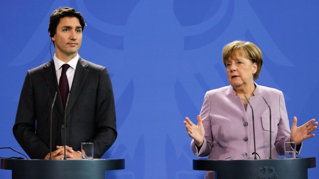 Justin Trudeau and Angela Merkel