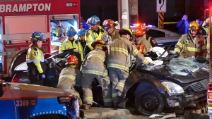 Two people were rushed to a trauma centre in serious condition after a crash near Rutherford Road South and Clarence Street in Brampton. (Pascal Marchand/ CP24)
