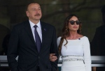 FILE - In this Sunday, June 19, 2016 file photo, Azerbaijan's President Ilham Aliyev and his wife Mehriban Aliyeva watch the last minutes of the Formula One Grand Prix of Europe at the Baku Circuit in Baku, Azerbaijan. Aliyev appointed his wife to the post of the ex-Soviet nation's first vice president on Tuesday, Feb. 21, 2017, a new position created after last year's constitutional referendum. (AP Photo/Ivan Sekretarev, File)