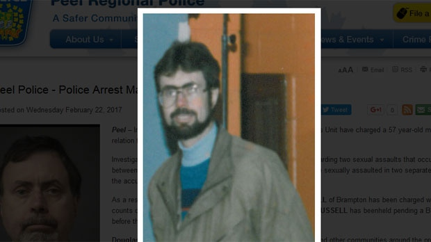 Peel Regional Police released this photo from the early 1990s of Douglas John Russell, who was arrested in connection with an historical sexual assault investigation. (Peel Regional Police handout)