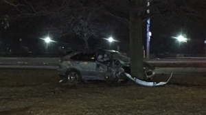 Police are investigating a fail-to-remain crash on Lake Shore Boulevard near Parkside Drive. (Mike Nguyen/ CP24)