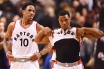 Toronto Raptors guard DeMar DeRozan (10) and Toronto Raptors guard Kyle Lowry (7) react after losing to the Detroit Pistons in NBA basketball action in Toronto on Sunday, Feb.12, 2017. The Toronto Raptors gave all-stars DeMar DeRozan and Kyle Lowry another day off Thursday.While the Raptors returned from the eight-day NBA all-star break with a practice Wednesday night, coach Dwane Casey permitted DeRozan and Lowry to miss both that practice and Thursday's. THE CANADIAN PRESS/Frank Gunn