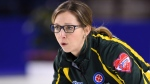 Northern Ontario skip Krista McCarville calls as they take on Canada in the 3-4 page of the Scotties Tournament of Hearts in St. Catharines, Ont., on Saturday, Feb. 25, 2017. THE CANADIAN PRESS/Sean Kilpatrick