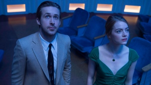 "This image released by Lionsgate shows Ryan Gosling, left, and Emma Stone in a scene from, ""La La Land."" From a jazzy Ryan Gosling to a Montreal team behind ""Arrival"" and a trio of animators, there's a healthy dose of Canuck amongst this year's Oscar nominees. THE CANADIAN PRESS/AP, Dale Robinette, Lionsgate"