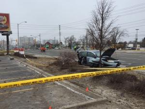 Police investigate a serious crash in Scarborough on Feb. 26, 2017. (Arda Zakarian/ CP24)