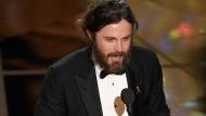 "Casey Affleck accepts the award for best actor in a leading role for ""Manchester by the Sea"" at the Oscars on Sunday, Feb. 26, 2017, at the Dolby Theatre in Los Angeles. (Photo by Chris Pizzello/Invision/AP)"