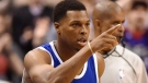 Toronto Raptors guard Kyle Lowry (7) celebrates after sinking a three-pointer during second half NBA basketball action against the Charlotte Hornets in Toronto on Wednesday, Feb. 15, 2017. The Raptors have announced that all-star guard Lowry will have surgery on his right wrist. THE CANADIAN PRESS/Frank Gunn