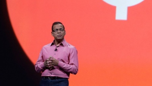 In this May 15, 2013, file photo, Amit Singhal, senior vice president and software engineer at Google Inc., speaks at Google I/O 2013 in San Francisco. (AP Photo/Jeff Chiu, File)