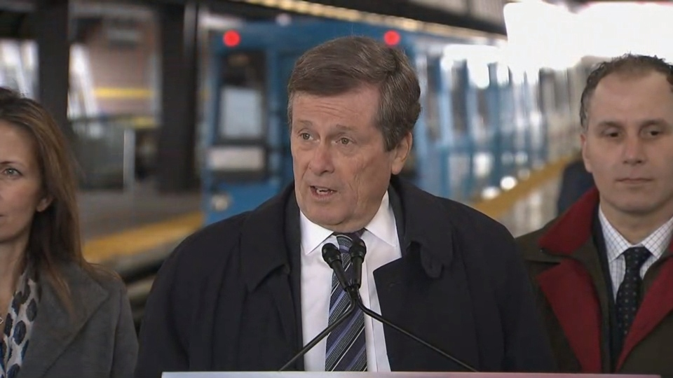 Mayor Tory speaks with reporters at the Kennedy SRT station on Tuesday, Feb. 28.