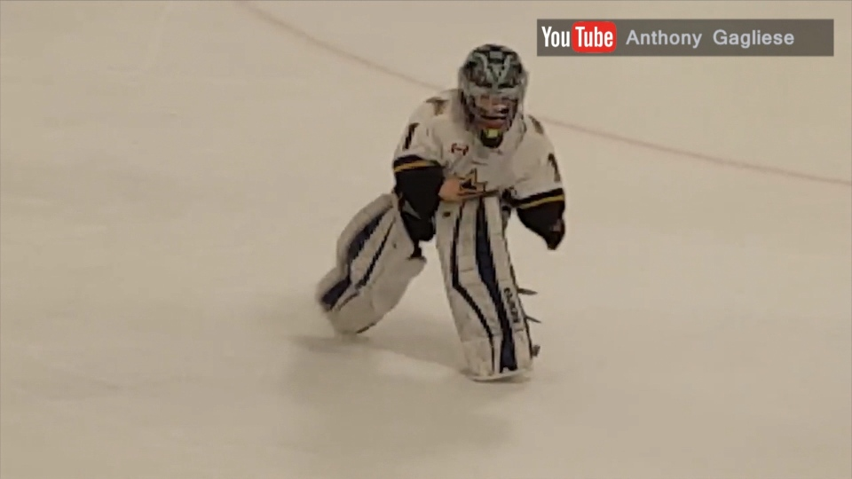 Brampton goalie Noah Young is pictured showing off his moves.