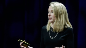 In this Thursday, Feb. 19, 2015, file photo, Yahoo President and CEO Marissa Mayer delivers the keynote address at the first-ever Yahoo Mobile Developer Conference, in San Francisco.  (AP Photo/Eric Risberg, File)