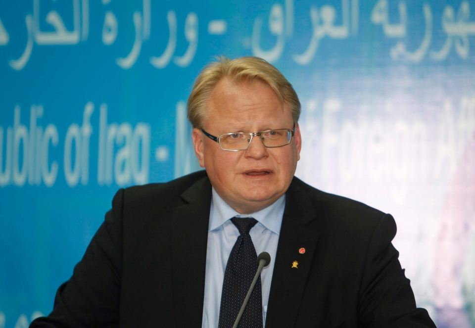 Sweden's Defence Minister Peter Hultqvist speaks during a press conference in Baghdad, Iraq, Monday, Nov. 2, 2015. (AP Photo/ Khalid al-Mousily, Pool)
