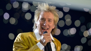 A Saturday, Nov. 28, 2015, file photo, from files of singer Rod Stewart performing in the Esprit Arena in Duesseldorf, western Germany. (AP Photo/Martin Meissner, File)