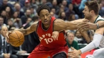Toronto Raptors' DeMarre DeRozan drives against Milwaukee Bucks' Matthew Dellavedova during the first half of an NBA basketball game Saturday, March 4, 2017, in Milwaukee. (AP Photo/Tom Lynn)