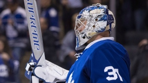 Toronto Maple Leafs goalie Frederik Andersen celebrates in his crease after his team's 4-2 win over the Philadelphia Flyers following NHL hockey action, in Toronto on Thursday, March 9, 2017. THE CANADIAN PRESS/Chris Young