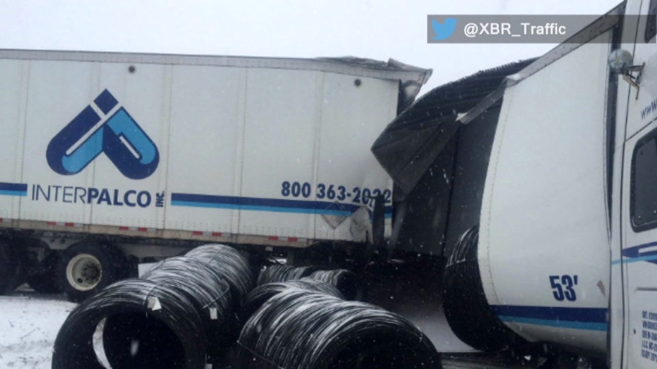 A transport truck involved in a multi-vehicle collision on Highway 401 near Brockville is shown. (Twitter/@XBR_Traffic)
