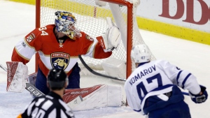 Toronto Maple Leafs center Leo Komarov (47) scores against Florida Panthers goalie James Reimer (34) in the first period of an NHL hockey game, Tuesday, March 14, 2017, in Sunrise, Fla. (AP Photo/Alan Diaz)