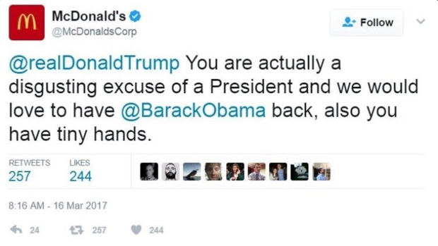 McDonalds Trump tweet