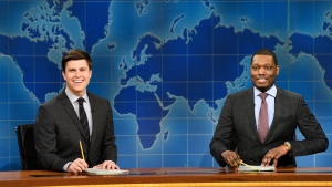 "In this March 4, 2017 photo provided by NBC, Colin Jost and Michael Che, right, appear during Weekend Update segment of ""Saturday Night Live"" in New York. (Will Heath/NBC via AP)"