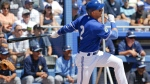 Toronto Blue Jays' Troy Tulowitzki hits a single against the Tampa Bay Rays in the first inning of a spring training baseball game, Saturday, March 18, 2017, in Dunedin, Fla. (AP Photo/John Raoux)