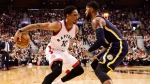 Toronto Raptors guard DeMar DeRozan (10) tries to get past Indiana Pacers forward Paul George (13) during first half NBA basketball action, in Toronto on Sunday, March 19, 2017. THE CANADIAN PRESS/Frank Gunn