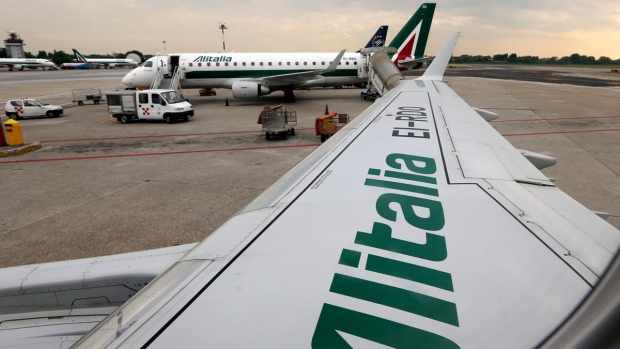 Alitalia planes at Linate airport, Milan