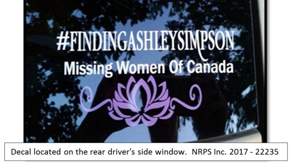 A decal believed to be on the rear driver's side window of a vehicle driven by Justin Kuijer is pictured in this Niagara Regional Police handout photo.