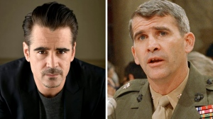Colin Farrell is slated to star as Oliver North in a limited series from Amazon. Lt. Col. Oliver North appears before a congressional committee holding hearings on the Iran-Contra affair on Capitol Hill in Washington. (Jordan Strauss and J. Scott Applewhite/AP Photo, Files)