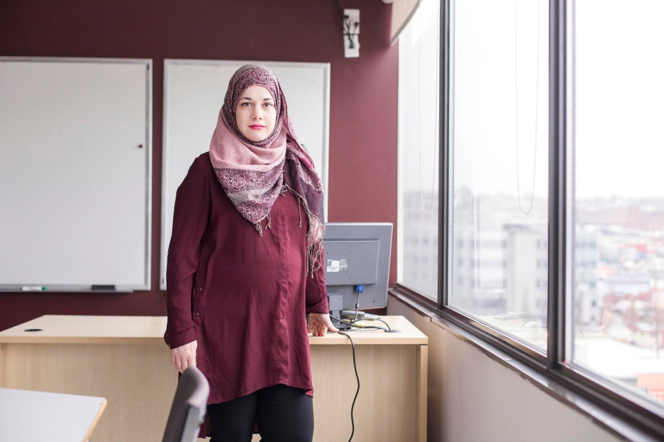 """I wanted people to see that Muslim women do have professional roles and responsibilities in society,"" Evangelene told Alia Youssef. She is a 33-year-old ESL teacher. (Alia Youssef)"
