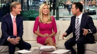 """""""Fox & Friends"""" has emerged as the morning television show of choice for President Donald Trump and his fans. Its average February 2017 audience of 1.72 million viewers was 49 percent over last year's, the Nielsen company said. (Richard Drew/AP Photo)"""