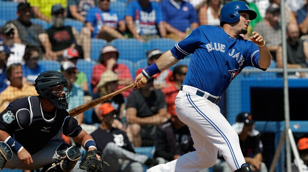 Toronto Blue Jays' Darrell Ceciliani lines an RBI double off Detroit Tigers starting pitcher Daniel Norris during the fifth inning of a spring training baseball game Wednesday, March 22, 2017, in Dunedin, Fla. Blue Jays' Kevin Pillar scored. Catching for Detroit is James McCann. (AP Photo/Chris O'Meara)